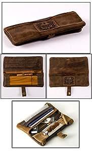 Blague à Tabac Tabatière Boite Pochette Original KAVATZA Mini pouch en cuir vieilli marron