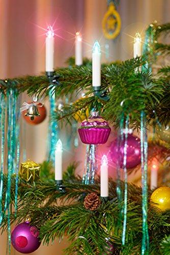 12er LED Weihnachtskerze, Wählbare Farben: Rot, Silber, Creme / Elfenbein, Gold inkl. Batterien, Dimmbar, Flackermodus, Timer, GS geprüft, kabellose Weihnachtsbaumbeleuchtung für Innen- und Außen (Creme / Elfenbein mit Farbwechsel)