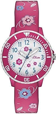 s.Oliver  - Reloj de cuarzo para niña, correa de silicona color rojo