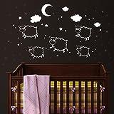 """Wandtattoo Loft """"Schäfchen mit 100 Leuchtaufklebern"""" - Wandtattoo (NICHT leuchtende Schäfchen) und Leuchtaufkleber für einen tollen Sternenhimmel im Kinderzimmer (leuchten im Dunkeln)"""