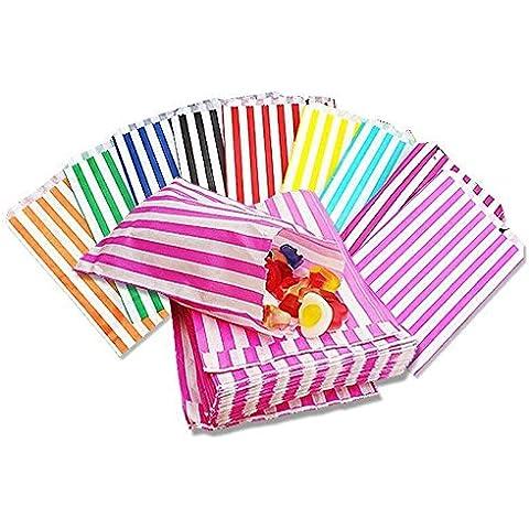 sacchetti di carta a righe porta-confetti Buffet regalo negozio partito caramelle torta nuziale 9colori Designs UK venditore stesso giorno spedizione, Aqua/Light Blue, 200 borse