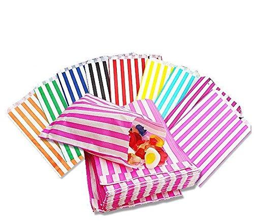 Candy a righe 100–Sacchetti di carta per dolci a buffet torta nuziale regalo negozio, nero, 100 b