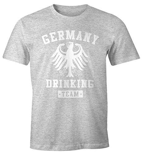 Deutschland Herren T-Shirt Germany Drinking Team Bier Adler Fun-Shirt Moonworks® Grau-Meliert