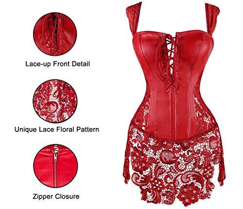 MISS MOLY Damen Gothic Kunstleder Korsagenkleid Schwarz Faux Leder corsage Clubwear 4 Farbe/Gr. S - 6XL Rot