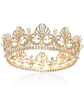 SWEETV Gold Königin Krone Strass Kronen Perle Tiara Diadem Kristall Kopfschmuck