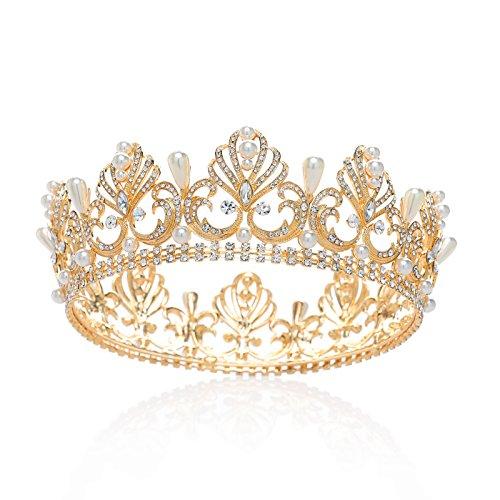 SWEETV Luxus Kristall Kronen Strass Königin Tiara Perle Diadem Kopfschmuck für Hochzeit Feier Party, Gold (Erwachsene Hochzeit Tiara)