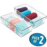 mDesign 2er-Set Aufbewahrungsbox – tiefe Wäschebox aus Kunststoff für Kleiderschrank und Schublade – ideal als Schrank Organizer für Unterwäsche, Strümpfe, Accessoires etc. – durchsichtig