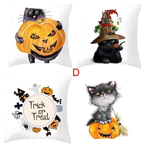LSAltd 4 Stücke Herbst Halloween Kürbis Kissenbezug Taille Wurf Kissenbezug Sofa Wohnkultur (Blume Zigeuner Kostüm)