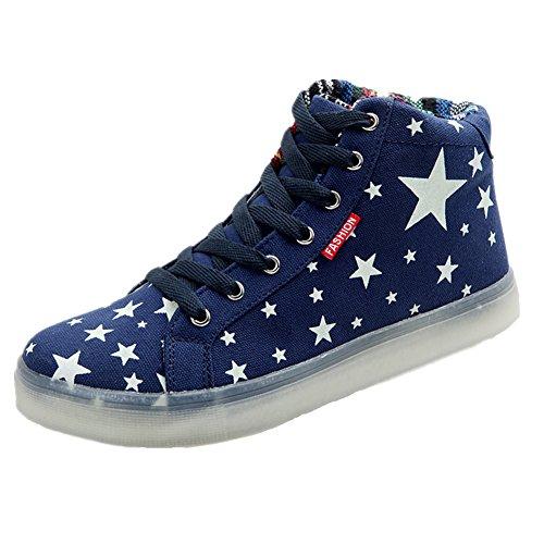 [Neues Muster] Leuchtende Nacht Segeltuchschuhe Sterne leuchten Schuhe Herrenschuhe(Blau,39.5EU) (Dockers Anzug Herren)