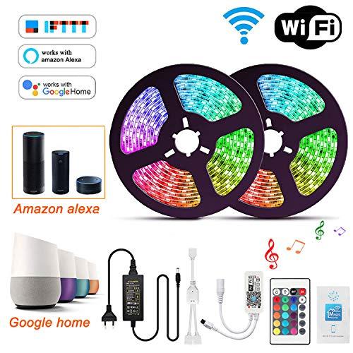 Wlife Wifi Led Streifen,10m RGB Led Stripes Controller mit Alexa,Google Home,IFTTT,Wireless Smart Phone Gesteuert Full Kit,IP65 Wasserdichte,SMD 5050 LED band 16 Millionen Farben,12V 5A Netzteil