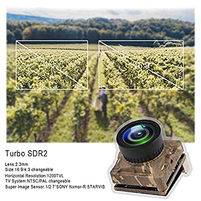 HankerMall FPV Camera Caddx Turbo Micro SDR2 1200TVL Turbo Eye Lens Sony Image Sensor 16:9/4:3 NTSC/PAL Switchable Super WDR OSD Mini FPV Camera Racing Version for FPV Racing Drone Quadcopter