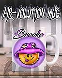 Mythic Airbrush Personalisierte Airbrush Smiley Emoji Keramik-Kaffeetasse Weiß