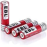 EBL 4 Stück 18650 Akkus 3.7V 3000mAh Li-Ionen wiederaufladbaren Batterie