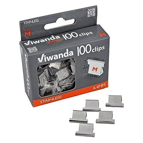 Viwanda Edelstahl Clips für Paper Clipper, Größe 6.4mm, hält bis zu 40 Blatt Papier