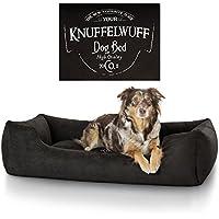 Knuffelwuff 13968-002 Hundebett Liam mit Vintage Aufdruck, M-L, 85 x 63 cm, schwarz