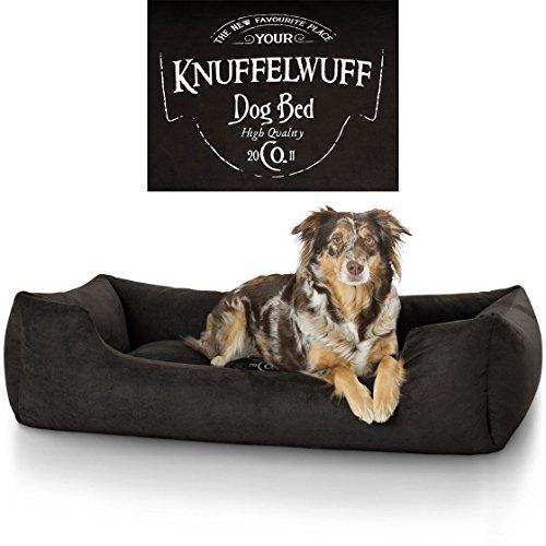 Knuffelwuff 13968-008 Hundebett Liam mit Vintage Aufdruck, XXL, 120 x 85 cm, schwarz