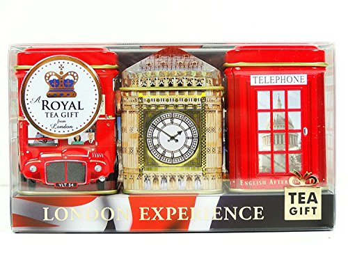 "English Tea Mini Caddy Gift Set ""London Experience"", 3 x 20g/25g Tea Caddies (Qty: 1 Pack)- 1277"