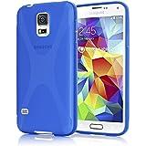 Samsung Galaxy S5 S5 NEO Hülle Handyhülle von NICA, Ultra-Slim Silikon Case, Dünne Crystal Schutzhülle, Etui Handy-Tasche Back-Cover Bumper, Gummihülle für Samsung S5 Neo S5 - X-Line Blau