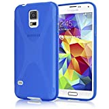 NALIA Handyhülle für Samsung Galaxy S5 Mini, Hülle Ultra-Slim Silikon Case, Dünne Crystal Schutzhülle, Etui Handy-Tasche Back-Cover Bumper, TPU Gummihülle für Samsung S5 Mini Phone - X-Line Blau