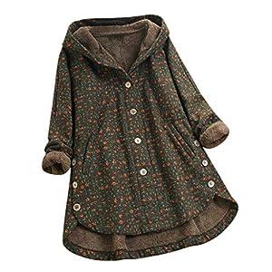 Damen Strickjacke, Winter Teddy-Fleece Mantel Lange Plüschjacke mit Kapuze Loose Wintermantel Lang Fleece Pullover…