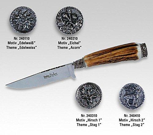 Linder Trachtenmesser Eichenlaub Klingenlänge 10 cm, 22.2 cm, 240110