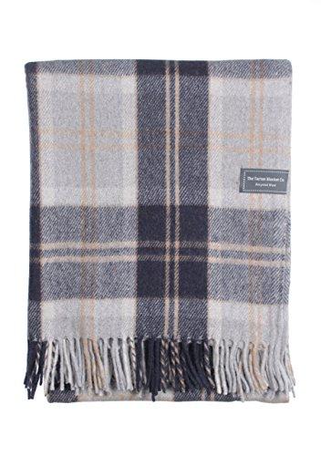 The Tartan Blanket Co. Recycelte Wolldecke Schottenmuster - Bannockbane Silver (150cm x 190cm) (Tartan-wolldecke)