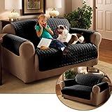Milano Tagesdecke Sofaüberwurf Sofaläufer Überwurfdecke Sofa Couch Überwurf (2-Sitzer Sofa, Schwarz)