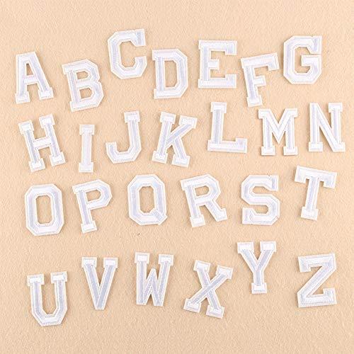 SUNSHINETEK 26 englische Buchstaben Patch weiß A-Z Alphabet Wort gesticktes Eisen auf Patch Abzeichen für Hut Kleidung Rucksäcke T-Shirt (Ein Buchstaben-patches)
