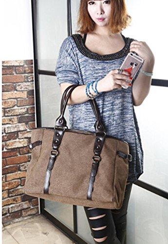 Fansela Fashion Handtasche Damen Schultertasche Frauen Umhängetasche Bag elegante Tasche Canvas Shoulder Bag Kaffee Blau