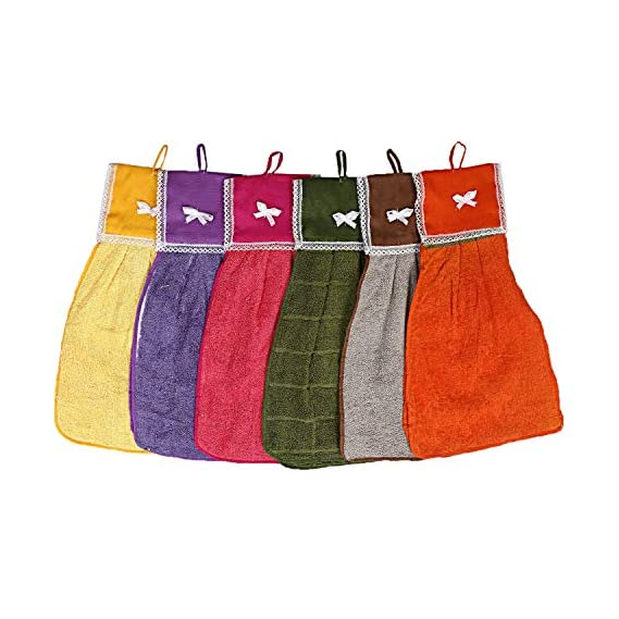 Talwar Home Decor 6 Piece 144 GSM Cotton Washbasin Napkin Towel Set - Multicolour