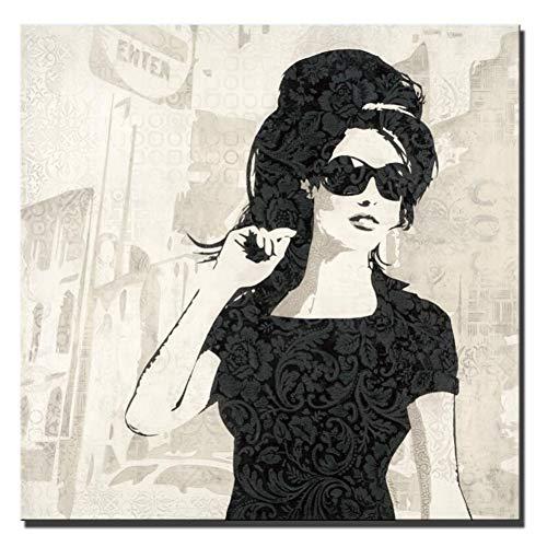 Rjjwai Abstraktes sexy Mädchen-Segeltuch-Plakat-weißes und schwarzes Pop-Art-Porträt-Mädchen mit Sonnenbrille-modernen Cuadros-Bild für Bar-Café-Dekor Ölgemälde