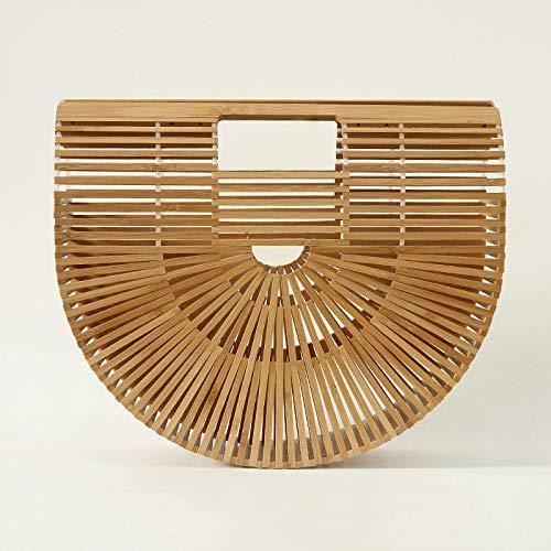 Womens 100% Bambus (YLFW Womens Top Griff Bambus Tasche Handgefertigte Handtaschen Tote Strandtasche)