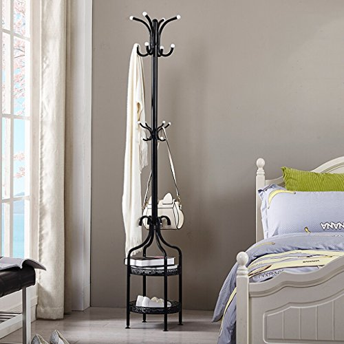 SKC Lighting-Porte-manteau 2 niveaux Bar Coat Rack Métal Sol Cintre Cintre Simple Chambre Salon Cintre Minimaliste Moderne Cintre Noir Blanc (38 * 38 * 180CM) (Couleur : Noir)
