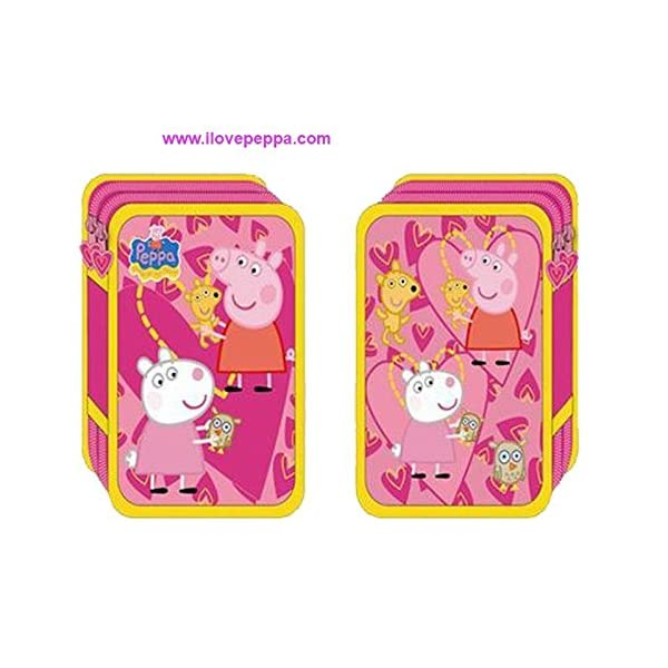 Plumier doble Peppa Pig hearts