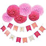 Blulu Feliz Cumpleaños Bunting Guirnaldas Poms Flor Guirnalda Rústica para Cumpleaños Fiesta Decoración