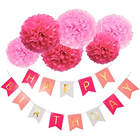Blulu Feliz Cumpleaños Bunting Guirnaldas Poms Flor Guirnalda Rústica para Cumpleaños Fiesta
