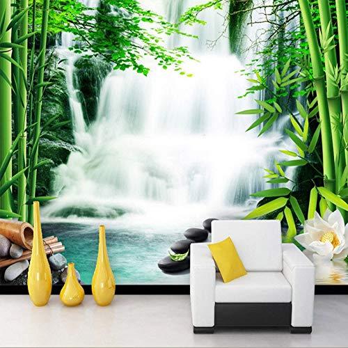 Bambus Wasserfall (HHCUIJ Fototapete Wandbild Tapete 3D Stereo Wasserfall Bambus Wald Wandmalerei Wohnzimmer Tv HintergrundWanddekorwandbilder,SIZE:450X300CM(177.17in by 118.11in))