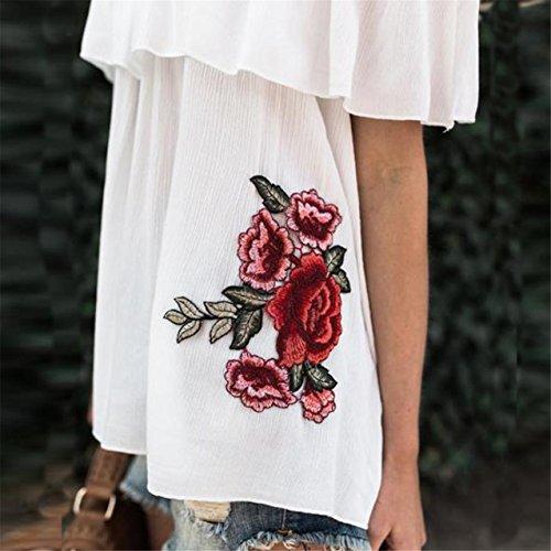 LHWY Damen Ab Schulter Blumenstickerei Bluse lässigen Tops T Shirt Weiß