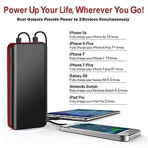 Batería Externa Power Bank 25000mAh Cargador Portátil con Ultra Alta Capacidad, Puertos Dobles y Linterna LED de 4 Modos para iPhone X 8 7 6 Puls, iPad, Samsung Galaxy, Androide y Otros Dispositivos