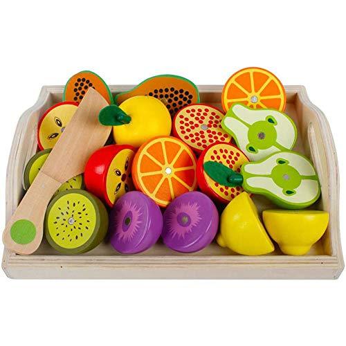 Küchenspielzeug Holz Früchten mit Magnet, 24x19cm, 19-tlg., Schneideobst aus Holz Obst Gemüse Spielzeug Lebensmittel Küche Kinder ädagogisches Lernen Spielzeug, Rollenspiel Lernspielzeug für Kinder -