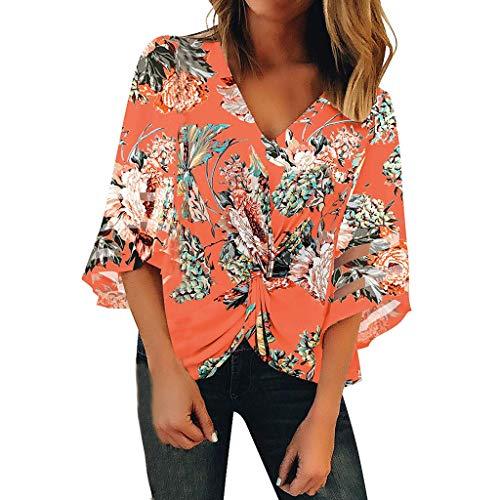 Frauen Blumendruck Flare Ausschnitt Ärmel V-Ausschnitt Geraffte Twist Tops Lose Beiläufige Bluse Shirts Stripe Flare Leggings