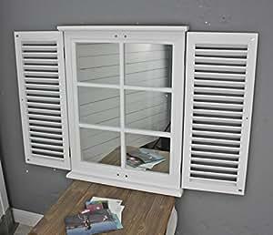 Elbm bel specchio da parete bianco in legno con finestra lamelle casa e cucina - Specchi da parete amazon ...