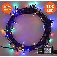 Luces de hadas de Navidad 100 LED Multicolor luces de árbol de interior y al aire libre de luces de cadena de Navidad 10m/33ft iluminado longitud con cable verde