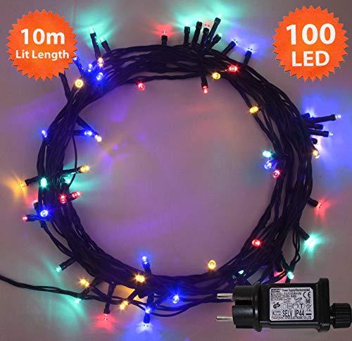Luces de hadas de Navidad 100 LED Multicolor luces de árbol de...