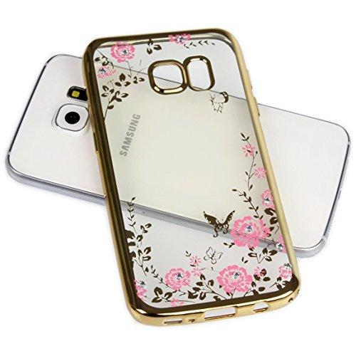 Handy Lux® Schutz Hülle Silikon Case mit Glitzer Steine Strass Cover für Xiaomi Redmi Note 4 4X, Gold Hülle - Rosa Blume