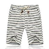 WDDGPZDK Strand Shorts/der Sommer Herren Shorts Lässige Gestreifte Strand Gerade Lockerer Baumwolle Shorts Plus Szie 5XL, Grau, 5XL