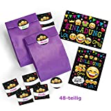 JuNa-Experten 12-er Set Einladungskarten, Umschläge, Tüten / lila, Aufkleber Kindergeburtstag Mädchen Jungen Jungs Geburtstagseinladungen Einladungen Geburtstag Kinder Kartenset