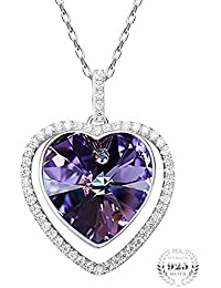Young & Forever Navratri Jewellery & Diwali Gifts for Family and Friends Joy of Love Heart Crystals from Swarovski Pendant Necklace for Women and Girls