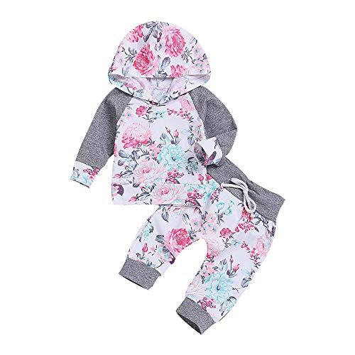 Trunlay Neugeborenes Baby Mädchen Set Lange Ärmel Kapuzenpullover Tops +Blume Pants Bekleidungsset 2 Stück Outfits Schlafanzug Mode Kleider Set für 3-18 Monate -