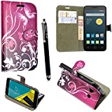 Funda para Alcatel One Touch Pop D5 5038D , Kamal Star® Funda Cuero PU Billetera Folio Carcasa, [Stylus Libre] Piel Case Cover con Soporte Plegable para Alcatel One Touch Pop D5 5038D (Butterfly Purple Book)